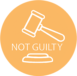 "Icon with Gavel and the words ""not guilty"