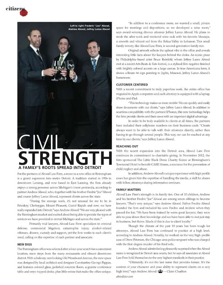 """Abood Law in article titled """"Civic Strength"""""""
