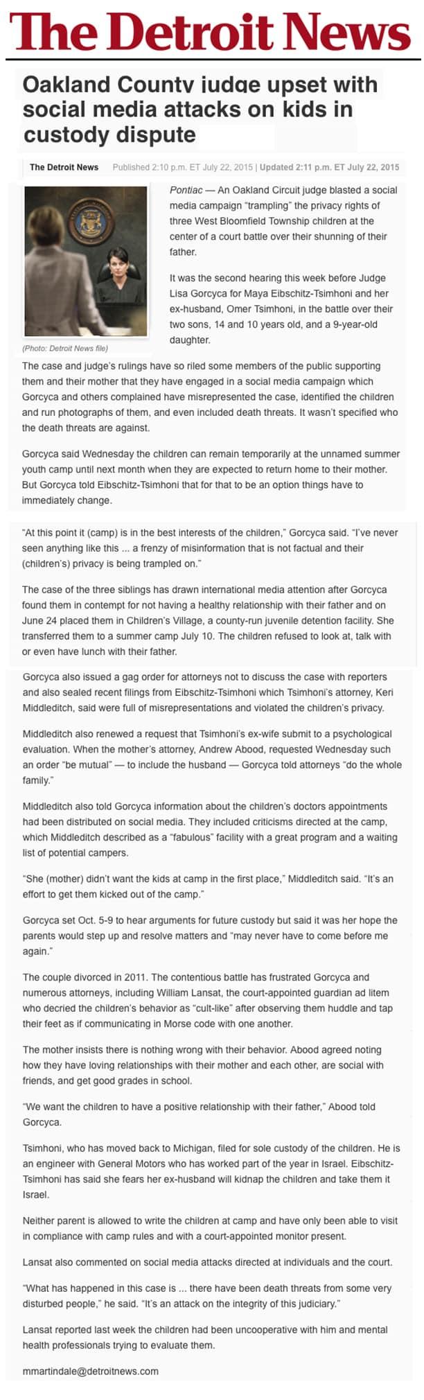 The Detroit news - Custody dispute