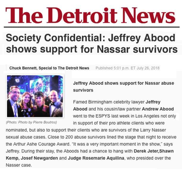 The Detroit News - Jeffrey Abood supports Nassar survivors
