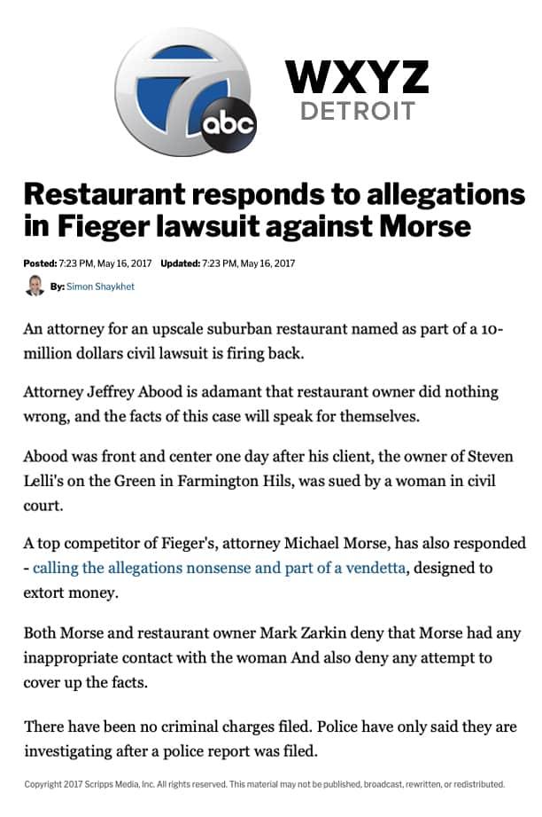 WXYZ Detroit Fieger lawsuit against Morse