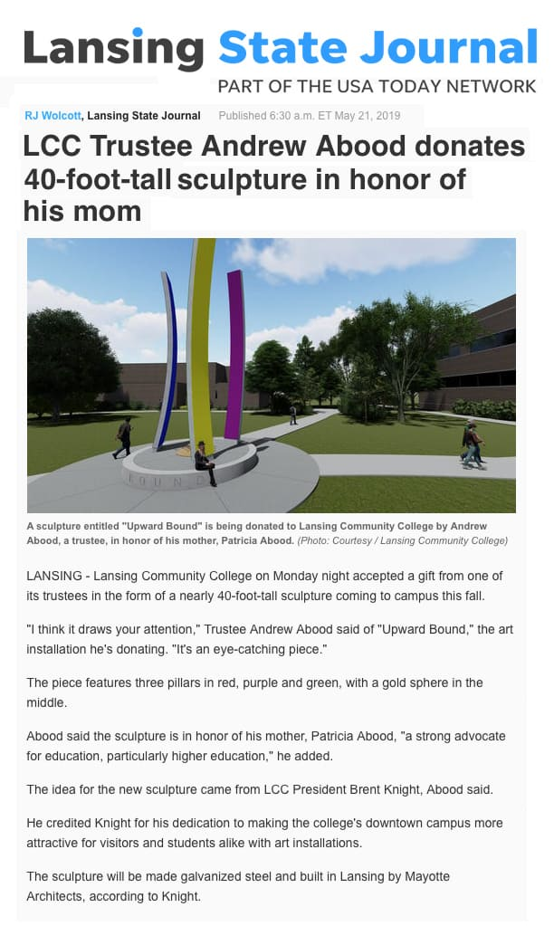 Andrew Abood donates sculpture in honor of his mom